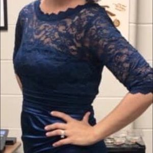 Midnight blue, lace top formal dress.